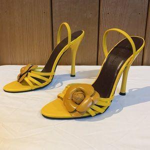 Michael Antonio Yellow Cage Floral Slide Heel 7